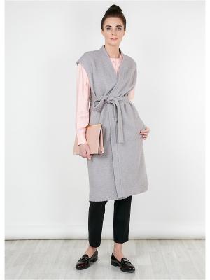 Пальто-жилет MAYAMODA. Цвет: серо-коричневый, светло-серый, серый