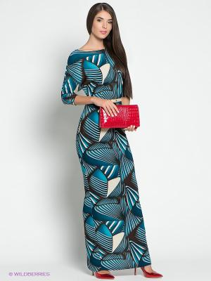 Платье Colambetta. Цвет: бирюзовый, молочный, коричневый