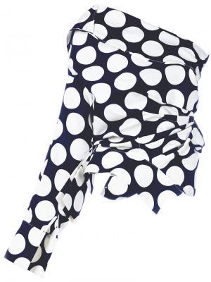 Асимметричная блузка с узором в горох A.W.A.K.E.. Цвет: синий