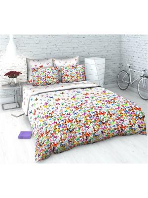 Комплект постельного белья из бязи 2 спальный Василиса. Цвет: белый, кремовый