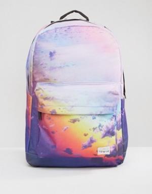Spiral Рюкзак с принтом облаков. Цвет: фиолетовый