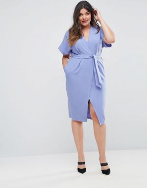 Closet Plus Платье с короткими рукавами и поясом London. Цвет: синий