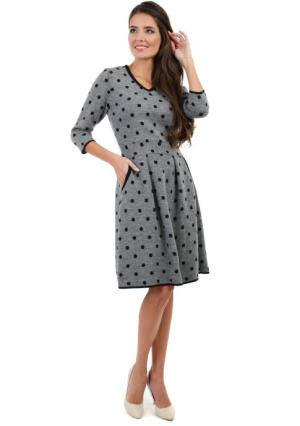 Платье MY STYLE. Цвет: серый (серо-черный)