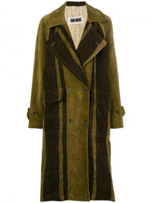 Двубортное пальто Cyra Uma Wang. Цвет: зелёный