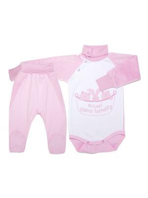 Комплект :боди и ползунки короткие (индиго) ОСЬМИНОЖКА. Цвет: розовый, белый