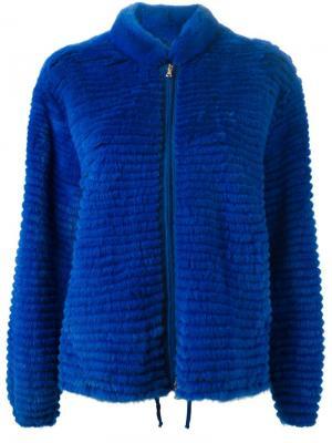 Меховая куртка на молнии Liska. Цвет: синий