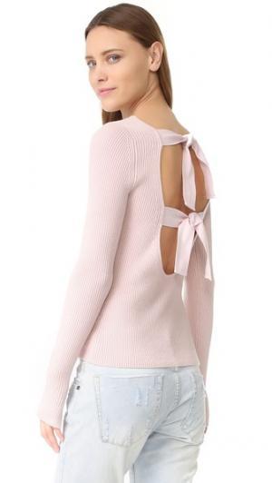 Свитер с Фэй завязками сзади и длинными рукавами Elizabeth and James. Цвет: бледно-розовый