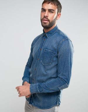 Nudie Jeans Джинсовая рубашка с длинными рукавами Co Henry. Цвет: синий