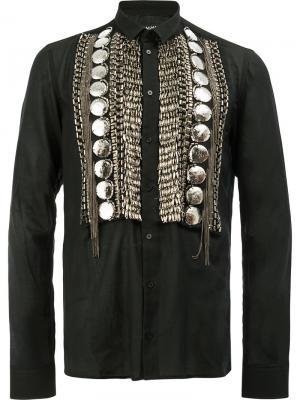 Декорированная рубашка Balmain. Цвет: чёрный