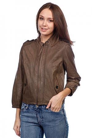 Куртка кожаная женская  Button Pocket Brown Converse. Цвет: коричневый