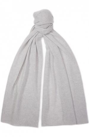 Кашемировый шарф тонкой вязки Johnstons Of Elgin. Цвет: светло-серый