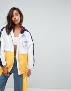 Tommy Jeans Куртка-дождевик в стиле колор блок. Цвет: белый