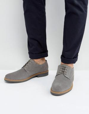 Silver Street Серые замшевые туфли дерби. Цвет: серый