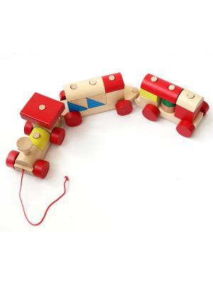 Конструктор Поезд Винтик и Шпунтик. Цвет: синий, бежевый, желтый, зеленый, красный