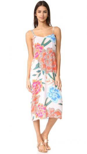 Платье-комбинация из жатого крепа Mara Hoffman. Цвет: аркадия коралловый