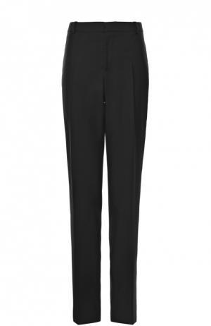 Шерстяные брюки прямого кроя с контрастными лампасами Alexander McQueen. Цвет: черный