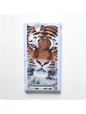 Чехол для Sony Xperia C3 Тигр Boom Case. Цвет: черный, белый, персиковый