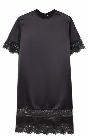 Шелковое платье прямого кроя с кружевной отделкой Givenchy. Цвет: черный