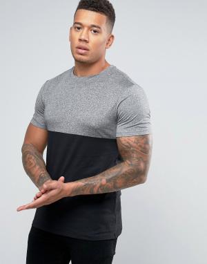 New Look Черная с серым футболка. Цвет: черный