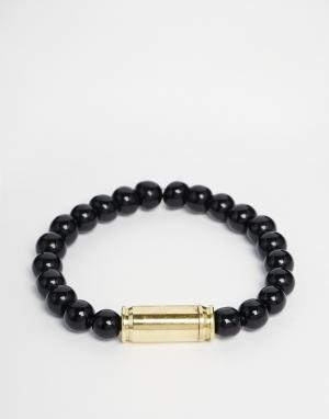 Love Bullets Черный браслет с бусинами из оникса и трубочкой Lovebullets. Цвет: черный