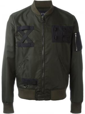 Куртка-бомбер с карманом на молнии Letasca. Цвет: зелёный