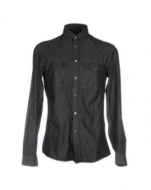 Джинсовая рубашка VERSACE COLLECTION. Цвет: черный