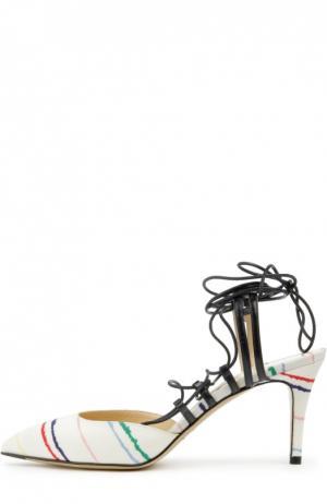 Текстильные туфли Nikhita на шнуровке Bionda Castana. Цвет: белый