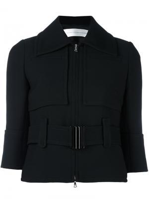 Укороченная куртка с поясом Victoria Beckham. Цвет: чёрный