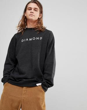 Diamond Supply Свитшот с логотипом. Цвет: серый