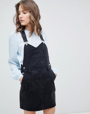 ASOS Выбеленный черный джинсовый сарафан DESIGN. Цвет: черный