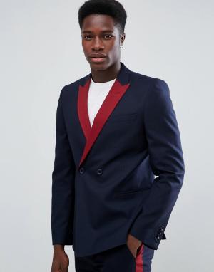 ASOS Темно-синий двубортный пиджак узкого кроя с бордовыми лацканами. Цвет: темно-синий