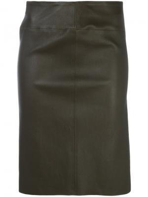 Приталенная кожаная юбка Joseph. Цвет: коричневый
