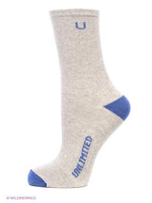 Носки Спортивные 3 Пары Unlimited. Цвет: серый меланж, синий