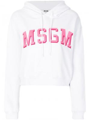 Длинная толстовка с логотипом MSGM. Цвет: белый