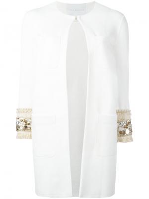 Пальто с блестящей отделкой Giada Benincasa. Цвет: белый