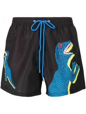 Пляжные шорты с принтом динозавра Paul Smith. Цвет: чёрный