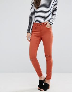 Waven Укороченные джинсы скинни Freya. Цвет: оранжевый