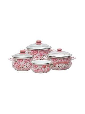 Набор посуды 7 предметов (2,0л, 3,5л, 5,5л + ковш 1,5л в подарок), стекл.крышки METROT. Цвет: розовый, белый
