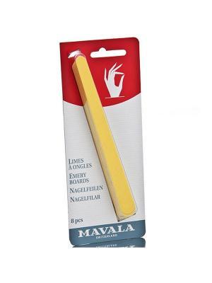 Пилочки для маникюра Emery Boards 8шт Mavala. Цвет: желтый, белый
