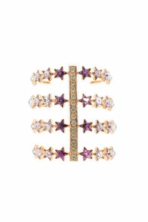 Браслет из латуни с кристаллами Ca&Lou. Цвет: золотой, фиолетовый, сиреневый, голубой