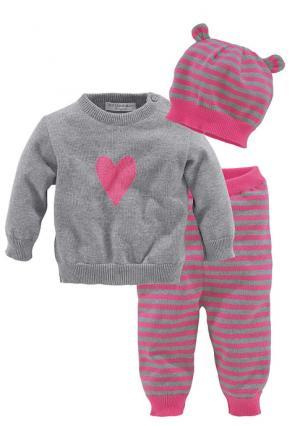 Комплект, 3 части: пуловер + брюки шапка KLITZEKLEIN. Цвет: ярко-розовый/серый