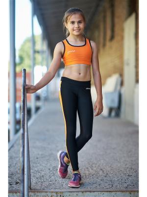 Тайтсы для фитнеса МИКИТА. Цвет: черный, антрацитовый, оранжевый