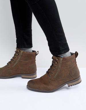 New Look Коричневые ботинки в стиле милитари. Цвет: коричневый