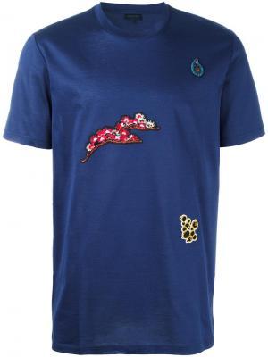 Футболка с цветочной вышивкой Lanvin. Цвет: синий