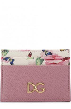 Кожаный футляр для кредитных карт с принтом Dolce & Gabbana. Цвет: розовый