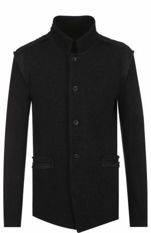 Однобортный пиджак из смеси хлопка и шерсти с воротником-стойкой Lost&Found. Цвет: черный