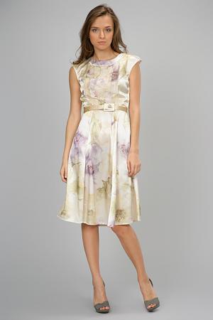 Платье из шифона с горловиной лодочка Modika. Цвет: золотистое