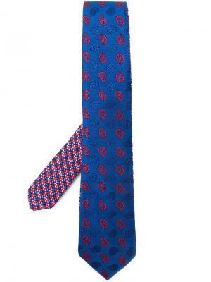Галстук с вышивкой пейсли Etro. Цвет: синий
