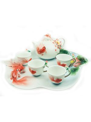 Подарочный набор для чайной церемонии Золотая рыбка на 4 персоны Русские подарки. Цвет: белый, зеленый, красный