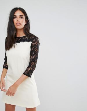 Paper Dolls Асимметричное платье-туника с кружевными рукавами. Цвет: белый